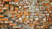 Very Old Brick Wall. Old Collapsing Brick Wall. Old Building. Old Brick Wall Texture Background poster