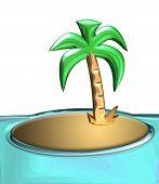 stock photo of tropical island  - palm island illustration - JPG