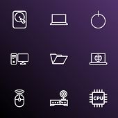 Hardware Icons Line Style Set With Folder, Router, Microprocessor And Other Web Elements. Isolated V poster