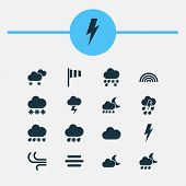 Climate Icons Set With Snow, Thundershower, Sleet And Other Thunderstorm Elements. Isolated Vector I poster