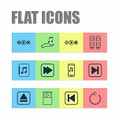 Audio Icons Set With Player, Extract Device, Following Song And Other Music Control Elements. Isolat poster