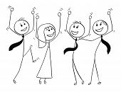 Cartoon Stick Man Drawing Conceptual Illustration Of Group Or Team Of Business People Celebrating Su poster