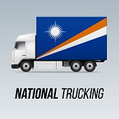 Symbol Of National Delivery Truck With Flag Of Marshall Islands. National Trucking Icon And Flag Des poster
