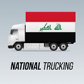 Symbol Of National Delivery Truck With Flag Of Iraq. National Trucking Icon And Iraqi Flag poster