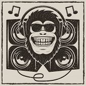 Funny Monkey In Sunglasses Listening To Music Vector Sketch Grunge Illustration. Cool Music Monkey W poster
