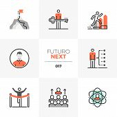 Semi-flat Icons Set Of Develop Leadership Skills And Achieve Goals. Unique Color Flat Graphics Eleme poster
