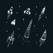 Vector Set Of Hand Drawn Doodle Rocket Icon And Rocket Silhouette. Icon Design Rocket, Spaceships, R poster