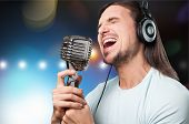 Man Sing Mic Microphone Singer Nightlife Entertainment poster