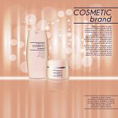 3D Realistic Cosmetic Bottle Ads Template. Cosmetic Brand Advertising Concept Design With Glitters A poster