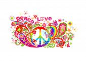 Colorful T-shirt design with hippie peace symbol, abstract flowers, mushrooms, paisley and rainbow o poster
