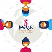Diverse Woman Group For Happy Womens Day Card poster