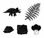 Sea Dinosaur, Triceratops, Prehistoric Plant, Human Skull. Dinosaur And Prehistoric Period Set Colle poster