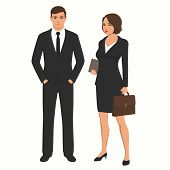 Vector Illustration Of Business People Businessman And Businesswoman. Man, Woman Standing Characters poster