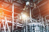 Industrial Factory, Steel Pipelines, Tubes At Brewery Production. Abstract Industrial Background, Bl poster
