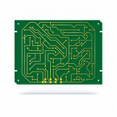 Digital Circuit Board Isolated On White. Copper Contacts On Green Textolite Board For Technology Bac poster