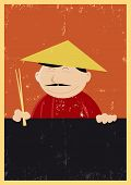 foto of nem  - Illustration of a Chinese cook showing menu for those who likes nems Chinese food - JPG