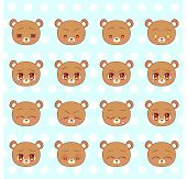 Emoticons, Emoji, Smiley Set, Colorful Sweet Kitty Little Cute Kawaii Anime Cartoon Bear Cub Differe poster