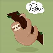 Vector Illustration Of Lazy Sloth With The Speech Bubble And The Words Vector Print For T-shirt Or P poster