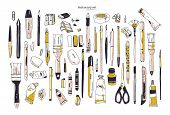 Collection Of Hand Drawn Stationery Or Writing Utensils. Set Of Office And Art Supplies Isolated On  poster
