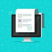 Online Form Survey On Computer Vector Illustration, Flat Cartoon Desktop Pc Showing Long Quiz Exam P poster