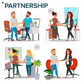 Business Partnership Set Vector. Business Man And Business Woman. Casual Handshaking. Business Conne poster