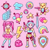 Set Of Japanese Anime Cosplay Objects. Cute Kawaii Characters And Items. poster