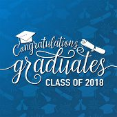 Vector Illustration On Seamless Graduations Background Congratulations Graduates 2018 Class Of, Whit poster