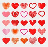 Simple Red Hearts Sharp Vector Icon. Color Card Beautiful Celebrate Bright Emoticon Red Heart Symbol poster