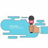 Journalism Concept. Live News Template With Microphone. Symbol Breaking News On Tv Radio. Journalist poster