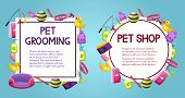 Pet Shop Sale Square And Round Vector Banner With Shadow, Poster Design On Colorful Background With  poster