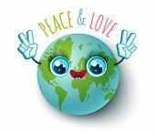 Vector Illustration Of A Planet Earth In Kawaii Style. Planet Earth With Peace Symbol. Peace And Lov poster