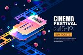Vector Glowing Neon Cinema Festival Banner. Cinema Tickets In 3d Isometric Style On Abstract Night C poster