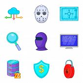 Safety Icons Set. Cartoon Set Of 9 Safety Vector Icons For Web Isolated On White Background poster