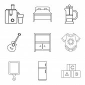 Domicile Icons Set. Outline Set Of 9 Domicile Vector Icons For Web Isolated On White Background poster