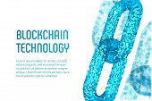 Block Chain. Crypto Currency. Blockchain Concept. 3d Wireframe Chain With Digital Blocks. Editable C poster