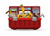 Tool Box. Vector Instrument Toolbox With Tools Kit For Home Repair Isolated On White Background poster