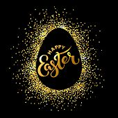 Happy Easter Text Isolated On Textured Background With Golden Confetti. Hand Drawn Lettering As East poster