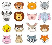 Set Of Cartoon Animal Faces On White. Baby Animals Symbols Drawing Vector Illustration poster