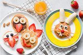 Colorful Breakfast Meal For Kids. Funny Easter Food Art, Top View. Concept Of Healthy Eating, Baby F poster