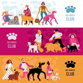 Club Of Dog Owners Horizontal Banners Set With Adults And Kids, Different Canine Breeds Isolated Vec poster