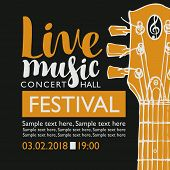 Vector Banner For A Music Festival With The Inscription Live Music, Neck Of The Guitar And Place For poster