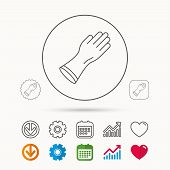 Rubber Gloves Icon. Latex Hand Protection Sign. Housework Cleaning Equipment Symbol. Calendar, Graph poster
