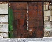 Rusty Garage Door. Grunge Garage Door. Metal Garage Door. Metal Door. poster