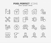 Thin Line Icons Set Of Renovation, Improvement And Repair. Outline Symbol Collection. Editable Vecto poster
