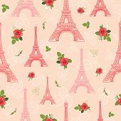 Vector Pink Red Eifel Tower Paris And Roses Flowers Seamless Repeat Pattern Surrounded By St Valenti poster