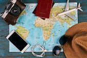 Passport, Photo Camera, Smart Phone, Sunglasses, Straw Hat And Travel Map, Traveler Items Vacation T poster
