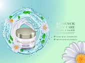 Cosmetic Bottle And Splash Blue Water With Green Leaves And Daisy Flowers.advertising Cosmetic Cream poster