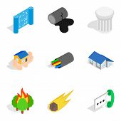 Casing Icons Set. Isometric Set Of 9 Casing Vector Icons For Web Isolated On White Background poster