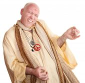 stock photo of swami  - Crazy monk plays air guitar over white background - JPG