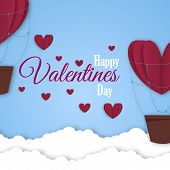 Paper Hearts Valentines Day Vector Love Art Card Origami Style Romantic Holiday Background Romance C poster